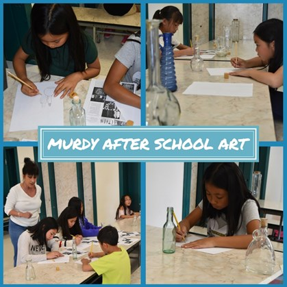 Students participate in after school art program.